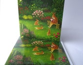 """Single Greetings Card of an original Animal painting: """"The Alfresco Library"""""""