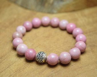 Rhodonite bracelet, Rhodonite beads, Gemstone bracelet, Sterling silver bead, Stretch bracelet, Pink bracelet, Rhodonite jewelry