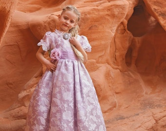 Flower Girl Silk Gown-bridal-photography-prop-Victorian- Lilac