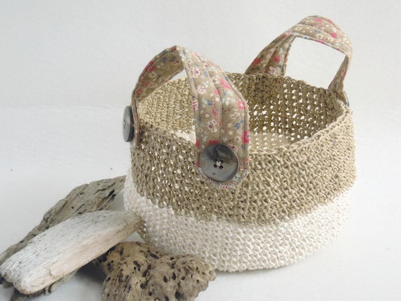 Handmade Jute Baskets : Round striped basket handmade natural jute crocheted