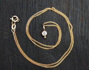 14k Gold Diamond Necklace. Solid Gold Diamond Necklace. Gold Solitaire Diamond Necklace. Gold Diamond Pendant. Genuine diamond April