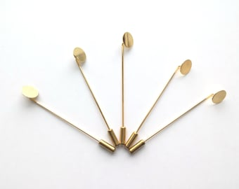 10 sets of Lapel Pin Hardware , 10mm Flat Glue Pad , 65mm Pin Length , comes with Cap , Gold Color