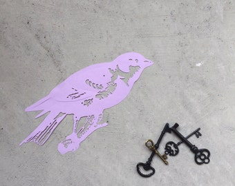 Lilac Handcut Finch Papercut - Scherenschnitte Bird - Purple bird Kirigami - Bird Home Decor