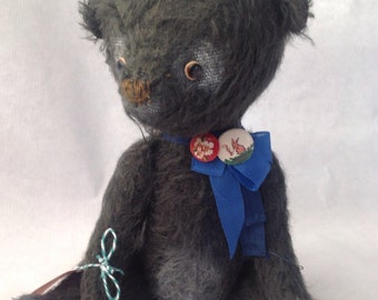 Black Mohair artist bear