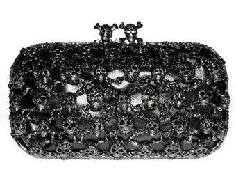 The Black Crystal Encrusted Skull Clutch Purse From TheArtfulBag.com