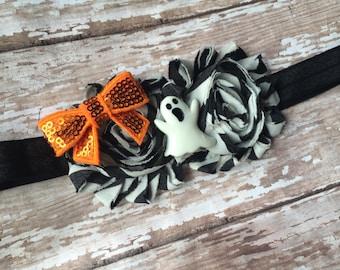 Adorable Ghost HALLOWEEN Infant/Children's Headband: Chevron Chiffon flowers on a Black stretch headband Newborn, Baby, Toddler, Children's