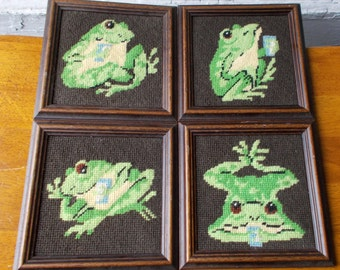 Vintage Framed Needlepoint Frog Pictures Set of Four Wall Hangings