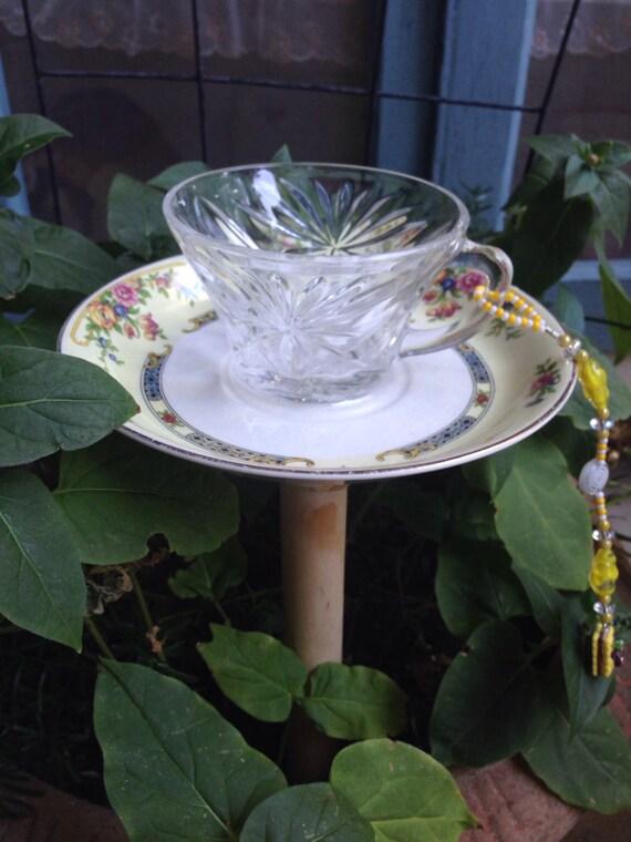 Shabby chic chippy tea cup birdfeeder