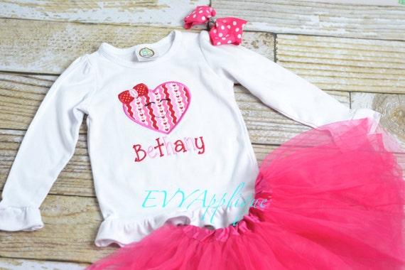 Girls Valentine's shirt personalized, personalized girls Valentine's outfit, pink and red, Embroidered girls Valentine's Shirt with name