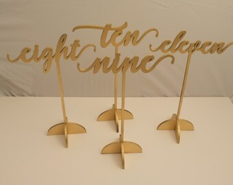 Gold table number set with stand