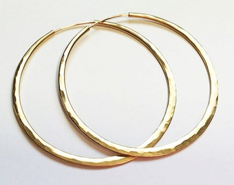 14k Gold FILLED Hoops - Self-locking - Continuous Endless Design Hoop