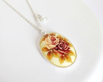 Vintage Rose Oval Cameo Necklace