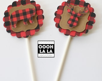 MADE TO ORDER Lumberjack themed/Buffalo Plaid Cupcake Toppers with or without lollipop stick- Set of 12