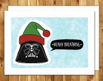 Star Wars Christmas - Star Wars Card - Funny Christmas Cards - Funny Holiday Card - Darth Vader Christmas - Darth Vader Heavy Breathing