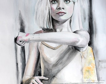 Original Watercolor Painting. Portrait of young dancer .Ballerina .  Maddie.