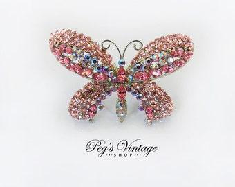 Vintage Pink AB Rhinestone Butterfly Ring, Adjustable Bug Ring