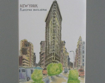 Flatiron Building in New York. Print of the original ink and watercolor drawing. 9 x 12 in.