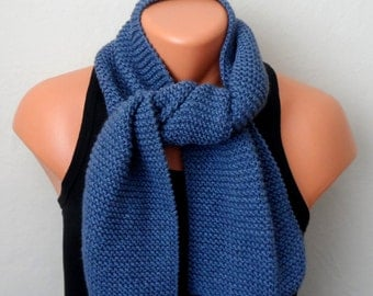 blue men knit scarf, blue winter scarf, chunky men scarf, men knit scarf gift for her
