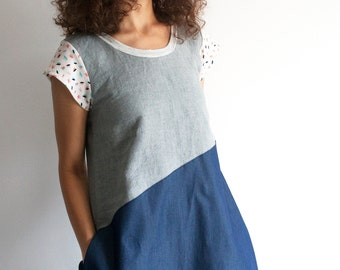 Loose summer dress, denim dress, color block dress, asymmetrical dress, casual dress, tunic dress, pocket dress