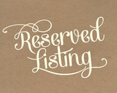 Reserved listing for Jess