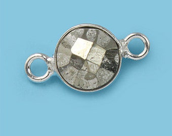 1 ea. Tiny 6mm Pyrite and Solid Sterling Silver Bezel Connecor Link Birthstone