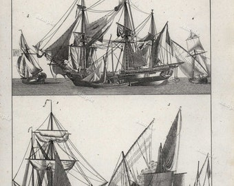 1848 original Antique lithograph of ships boats black and white