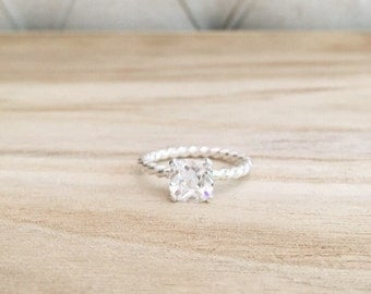 Twisted cushion cut solitaire ring, cushion cut, cushion cut ring, cushion cut stone, CZ, sterling silver ring, twisted band, braided band