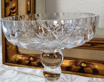 Vintage Etched Brilliant Crystal Compote Dish - Candy Dish - Wedding Decor