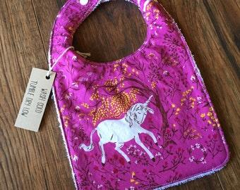 Unicorn Fairytale Bib- Magenta Fuchsia