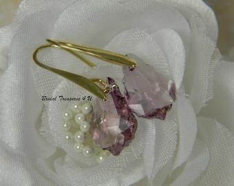 Swarovski Light Amethyst Gold Dangle Earrings. Bridesmaid Earrings, Gold Jewelry, Baroque Crystal Earrings, Swarovski Crystal Earrings - SC1