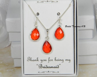 Red / Silver Bridesmaids Teardrop Necklace, Red Wedding, Red Orange Bridesmaid Gift, Candy Apple Red, Personalized Note - TD