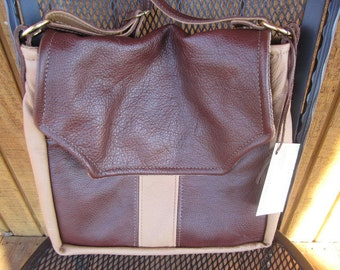 The Rave, a two tone Leather Purse/Handbag in dark & light brown, shoulder/arm strap #309