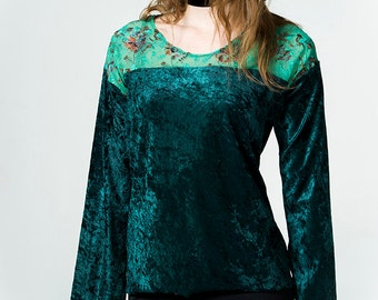 Green velvet top with lace detail