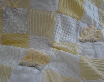REDUCED PRICE-Baby Quilt In Yellow and White Vintage Chenille Was 149.00 Now 99.00