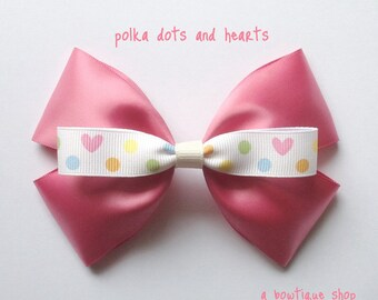 polka dots and hearts bow