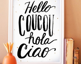 hello coucou hola ciao noir- art print with gold leaf flecks, language, office art print, french, typography, lettering