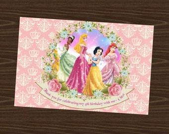 4x6 Disney Princesses Thank You Card Pink (Fuchsia) Digital/Printable file. Jasmine, Cinderella, snow white, belle, rapunzel, Ariel, etc....