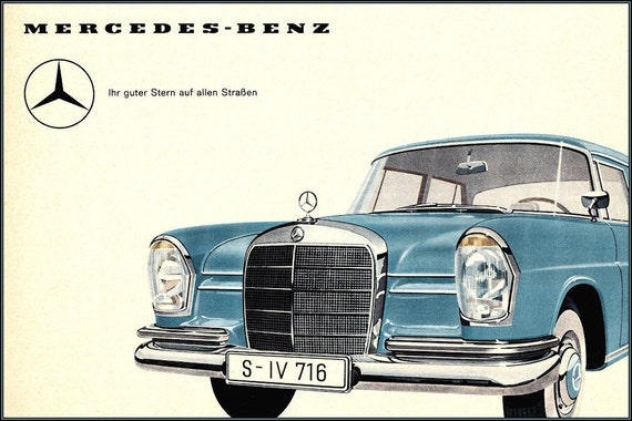 Mercedes benz star of the road vintage by vintageposterprints for Mercedes benz poster