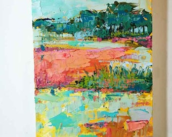Abstract Marsh Oil Painting in Bright Colors