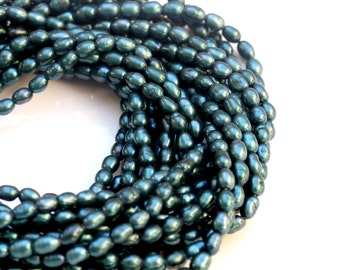 """16 """", 3-4 mm Teal Cultured High Quality Freshwater Rice Pearls Beads Strand"""