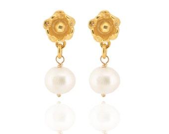Pearl Drop Earrings - Delphine - GOLD