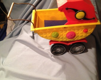 Colorful Plastic Baby Doll Carriage / Pram with Movable Hood