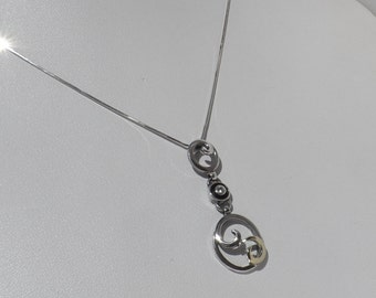 925 Sterling Silver & 18K Yellow Gold Diamond Pendant Necklace