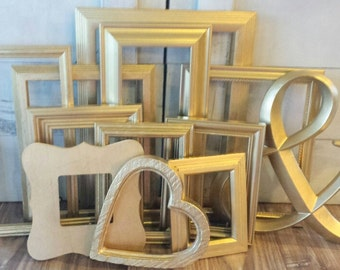 Gold Picture Frame Set ~ Emma Collection ~ Gallery Wall Photo Frames ~ Metallic Set of Frames ~ Shabby Chic Upcycled Frames