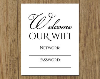 wifi network and password printable sign guest room decor sign 5x7 or 8x10 frame - Wifi Picture Frame