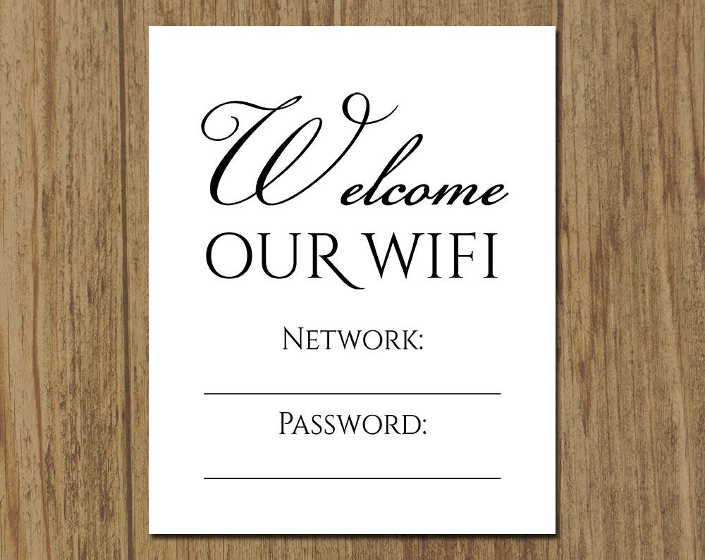 Influential image with wifi password sign printable