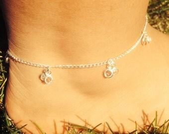 Vintage inspired sterling silver hanging crystal clusters anklet/ ankle bracelet/ ankle chain