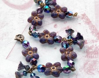Blue Flower Bracelet, Vintage Style Bracelet, Czech Glass Bracelet, Flower Bracelet, Boho, Handmade Bracelet, Rustic Bracelet