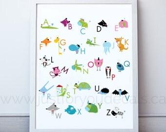 Alphabet Poster, Playroom Poster, Nursery Poster, Alphabet Nursery Art, Nursery Wall Art, Alphabet Art, Alphabet Wall Art, Poster - 22-0032