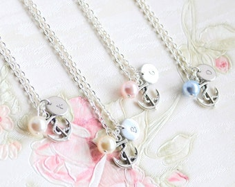 Bridesmaid necklace Anchor necklace Personalized Bridesmaid Jewelry necklace with initials and Swarovski beads Flower girl bridesmaid gift